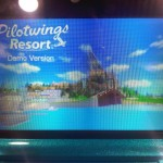 A photograph of the Pilotwings Resort opening screen in 3D mode